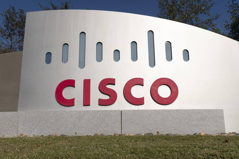 Cisco logo is seen at its office in San Jose, California on November 1, 2019. Cisco has scheduled a conference call for Wednesday, November 13, 2019 to announce its first quarter fiscal year 2020 financial results. (Photo by Yichuan Cao/NurPhoto via Getty Images)