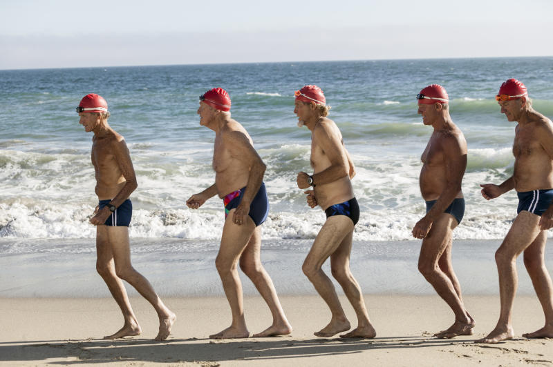 Tight swimming trunks are still spotted on Britain's beaches. [Photo: Getty]