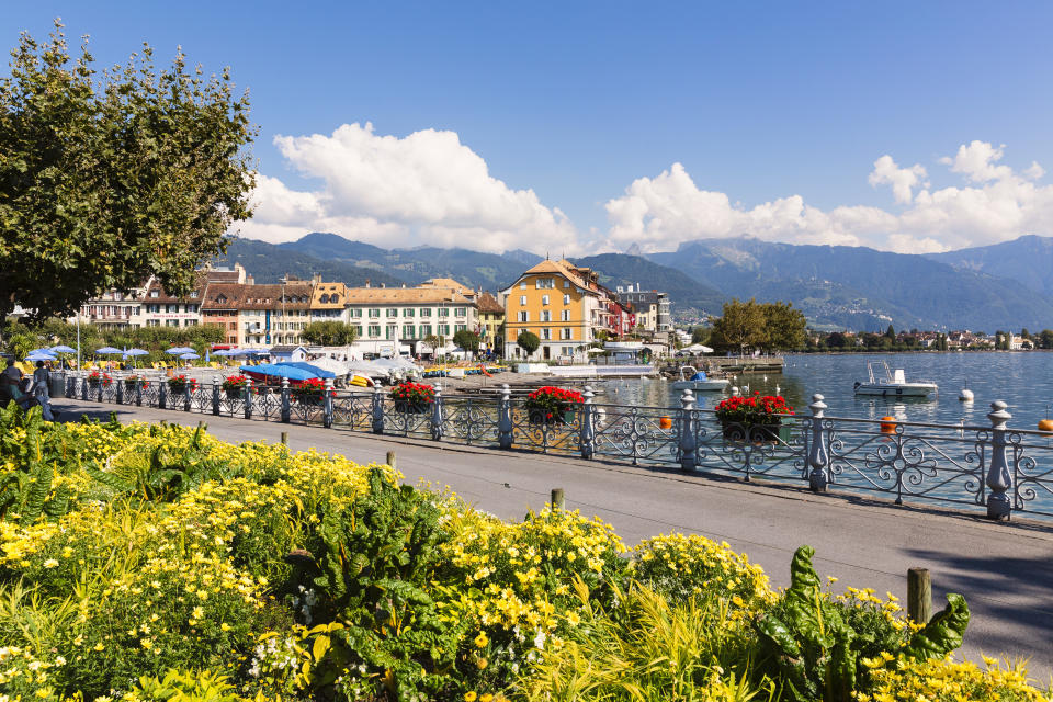 Resting beside the world-famous Lake Geneva, Vevey's old town is a must-see courtesy of its quaint eateries and fondue. <em>Lonely Planet</em> rightfully recommends working off the cheese coma with a brisk swim in the lake. <em>[Photo: Getty]</em>