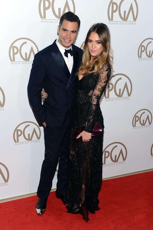 BEVERLY HILLS, CA - JANUARY 26:  Producer Cash Warren (L) and actress Jessica Alba arrive at the 24th Annual Producers Guild Awards held at The Beverly Hilton Hotel on January 26, 2013 in Beverly Hills, California.  (Photo by Jason Kempin/Getty Images)