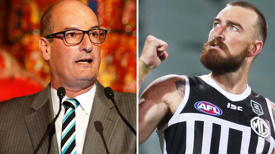 Port Adelaide chairman David Koch has labelled the AFL 'totally disrespectful' over the ongoing doubt surrounding the use of the club's heritage 'prison bar' design. Pictures: Getty Images
