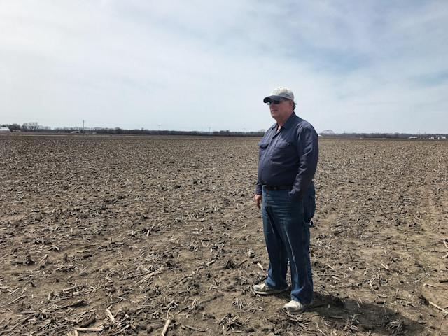 Daryl Cates, a corn and soybean farmer, stands on his soon-to-be planted field in Columbia, Ill. (Photo: Holly Bailey/Yahoo News)