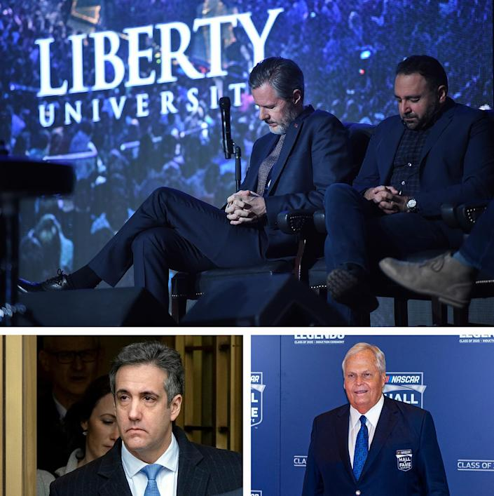 Top: Jerry Falwell Jr. prays along with Liberty University senior vice president of spiritual development David Nasser during a convocation event in Dec. 2015. Bottom left: Michael Cohen, former lawyer for President Donald Trump, leaves federal court in New York after being sentenced to three years in prison in Dec. 2018. Bottom right: NASCAR team owner Rick Hendrick at NASCAR's Hall of Fame induction ceremony in Jan. 2020. The Falwells vacationed on Hendrick's yacht in Key West.