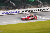 Kevin Harvick drives during a NASCAR Cup Series auto race at Kansas Speedway in Kansas City, Kan., Thursday, July 23, 2020. (AP Photo/Charlie Riedel)