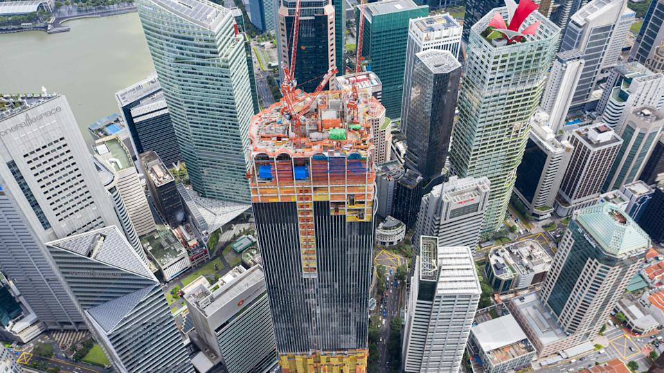 CapitaSpring, the 280-metre-tall landmark in Raffles Place, has achieved full height, with about 75% of the overall construction completed. (PHOTO: CapitaLand)