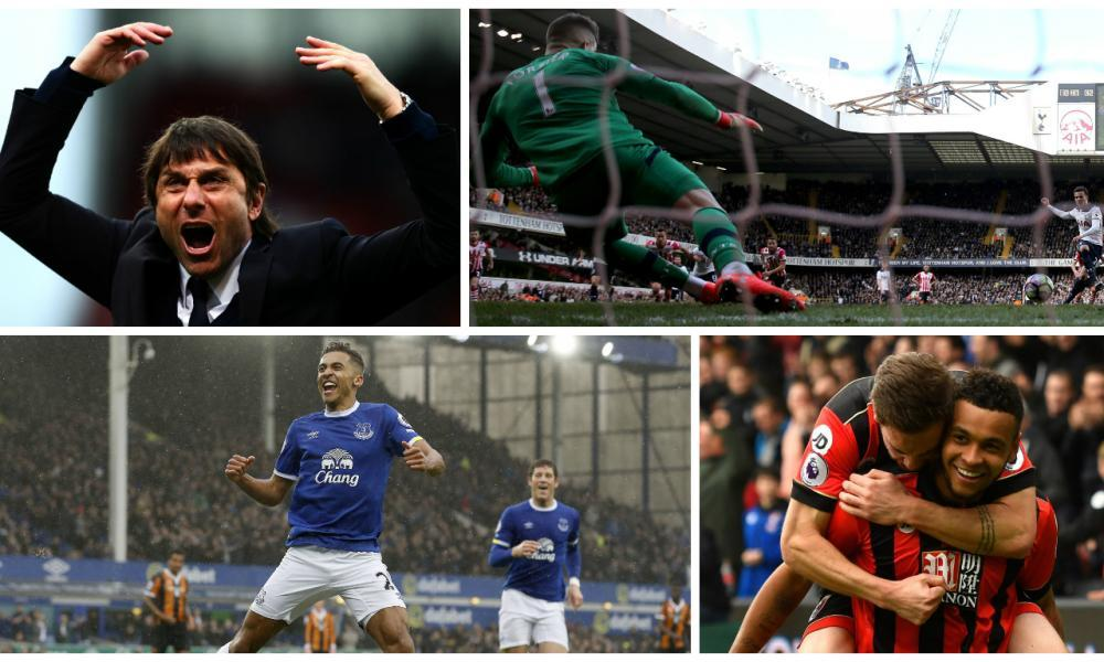 Clockwise from top left: Antonio Conte celebrates Chelsea's win; Dele Alli scores a penalty for Tottenham; Dan Gosling and Josh King; Dominic Calvert-Lewin after scoring for Everton.
