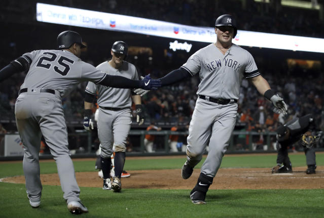 New York Yankees' Luke Voit, right, is congratulated by Gleyber Torres (25) after hitting a two run home run off San Francisco Giants' Mark Melancon in the ninth inning of a baseball game Friday, April 26, 2019, in San Francisco. (AP Photo/Ben Margot)
