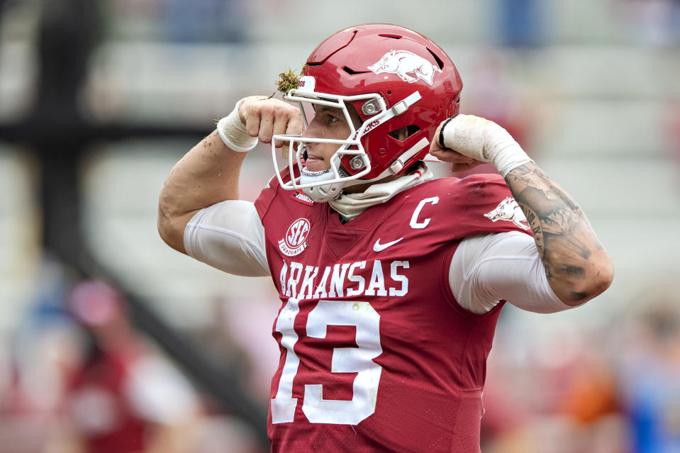 Arkansas' Feleipe Franks has some fans in the scouting community despite a hot-and-cold college career. (Photo by Wesley Hitt/Getty Images)
