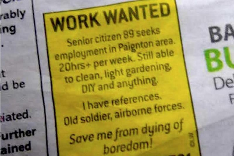 The advert posted in a local newspaper by Joe Bartley (ITV News)