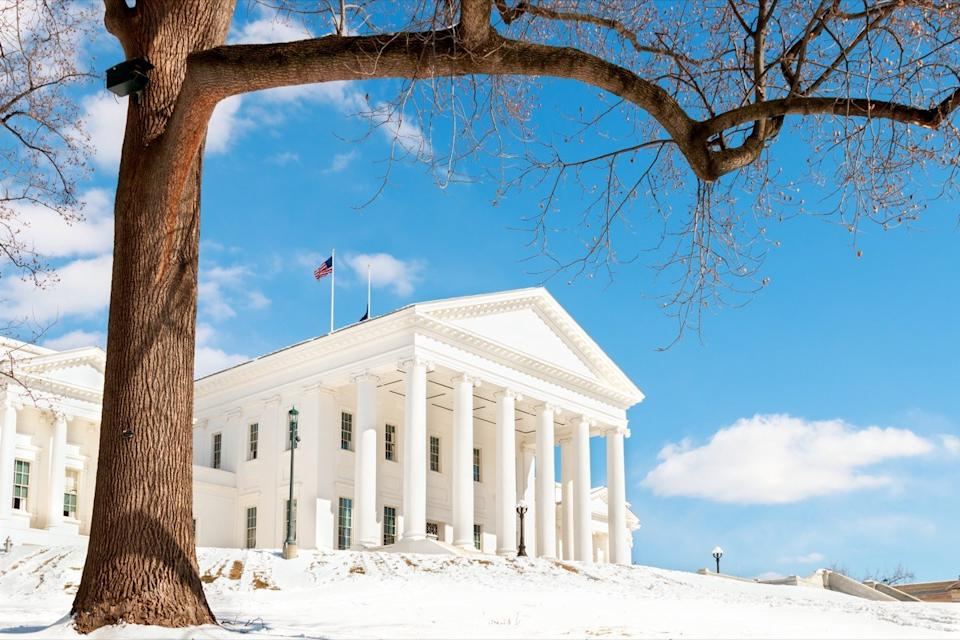 Virginia state capitol building in the winter in Richmond