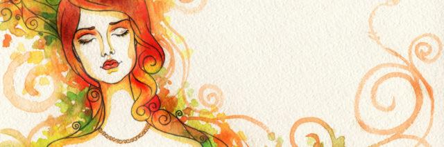 watercolor of a woman with her eyes closed with red hair, red lipstick and a necklace. Fall colors swirling around her.