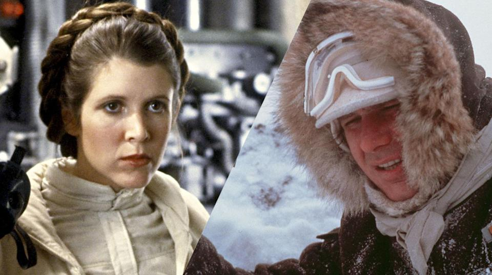 The figures show Carrie Fisher and Harrison Ford as Leia and Han in <i>Empire Strikes Back</i> (Hasbro)