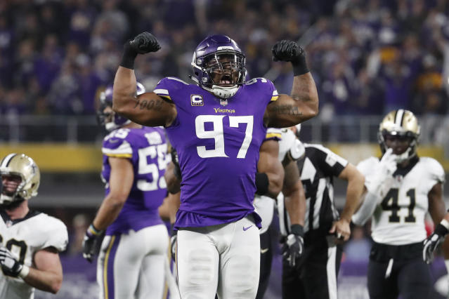Everson Griffen's emotional response to Sunday's Minnesota Vikings win was priceless. (AP)