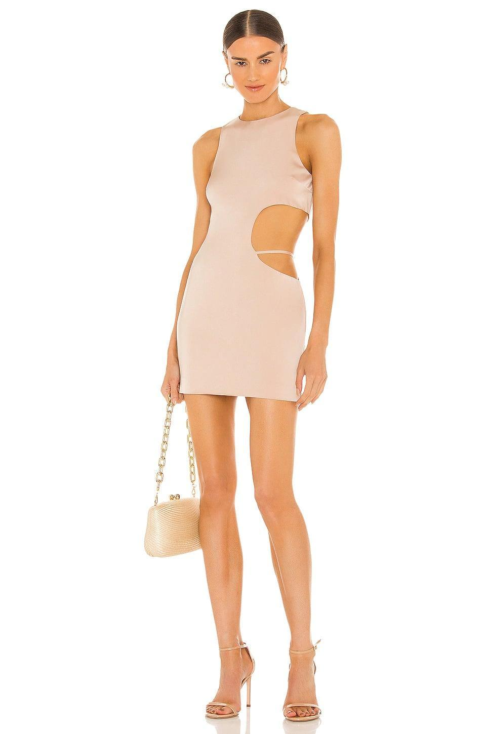 <p>The color of this <span>H:ours Clarity Mini Dress</span> ($198) is a great neutral shade. Plus, the side cutout is impossibly cool.</p>