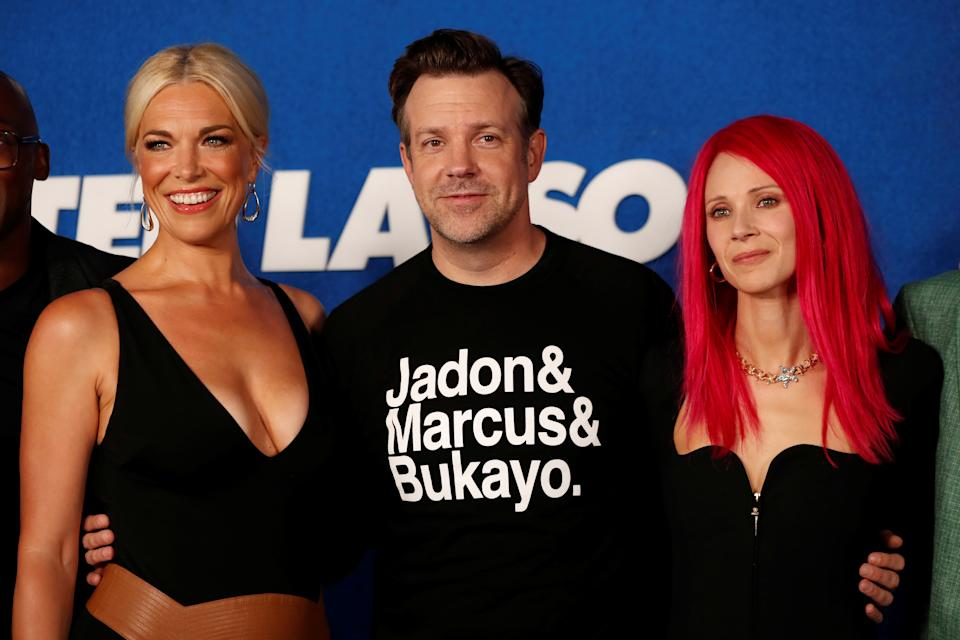 Hannah Waddingham, Jason Sudeikis, and Juno Temple attend the premiere for season two of