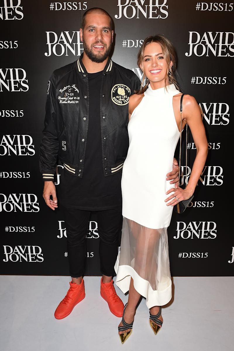 AFL footballer Lance Franklin and model Jesinta Campbell arrive at the David Jones Spring Summer 2015 fashion launch in Sydney, Wednesday, Aug. 5, 2015. (AAP Image/Dan Himbrechts) NO ARCHIVING