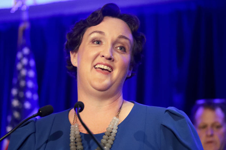 FILE - In this Nov. 6, 2018, file photo, Katie Porter speaks during an election night event in Tustin, Calif. The potential ascendancy of Sen. Kamala Harris to the vice presidency next year has kicked off widespread speculation about who might replace her if Democrats seize the White House. California Gov. Gavin Newsom is already being lobbied by hopefuls and numerous names are emerging in the early speculation. Rep. Porter has established a national reputation in her short time in Washington and is a prolific fundraiser. (AP Photo/Chris Carlson, File)
