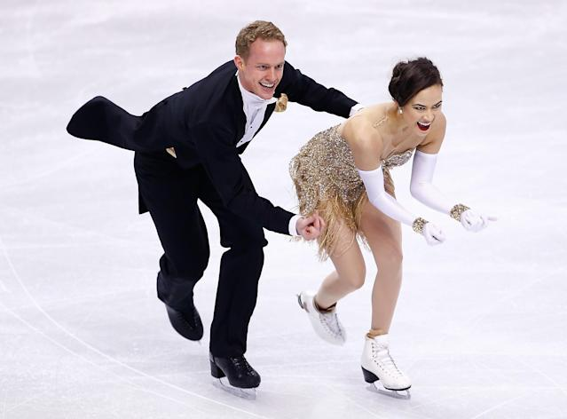 BOSTON, MA - JANUARY 10: Madison Chock and Evan Bates skate in the short dance program during the 2014 Prudential U.S. Figure Skating Championships at TD Garden on January 10, 2014 in Boston, Massachusetts. (Photo by Jared Wickerham/Getty Images)