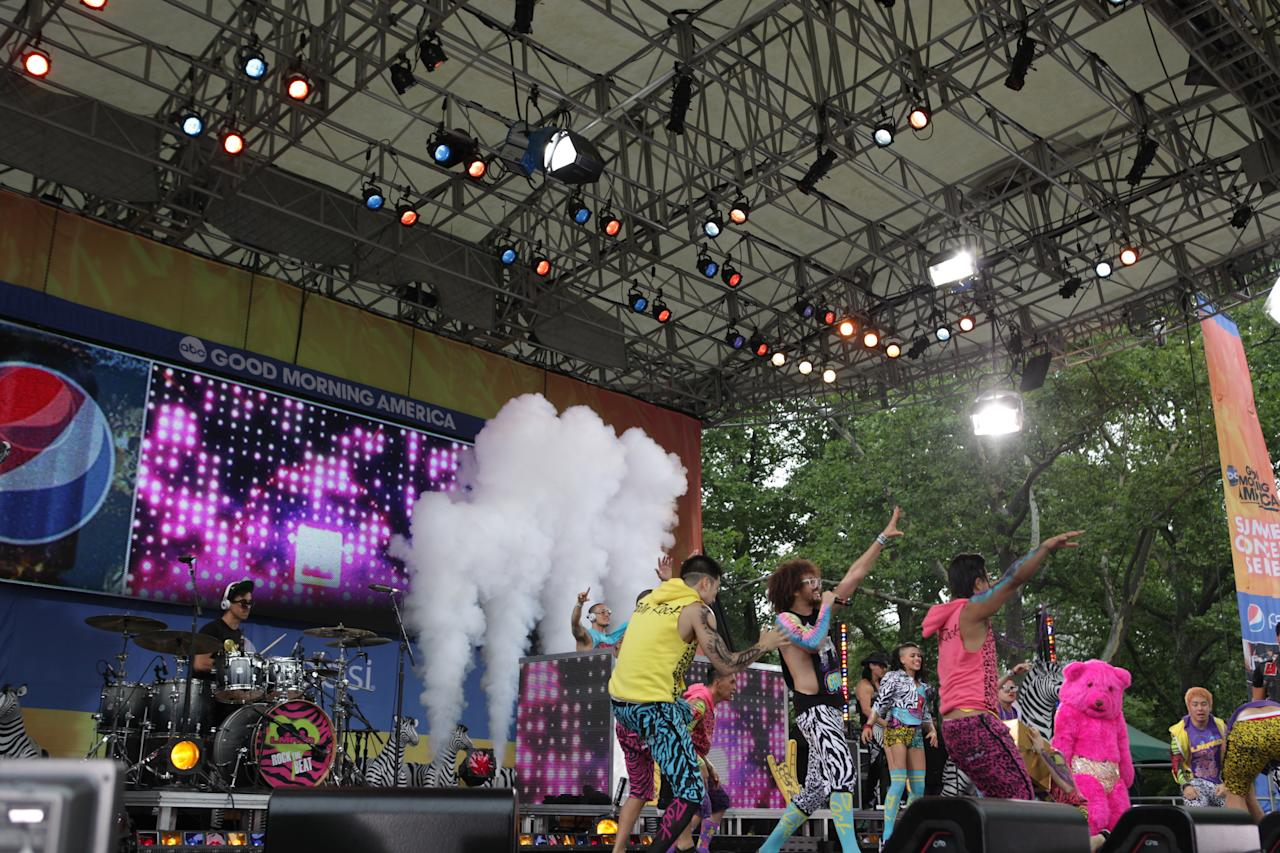 "The crazy guys of LMFAO brought their ""Party Rock Anthem"" to Central Park for the ""Good Morning America"" Summer Concert Series."