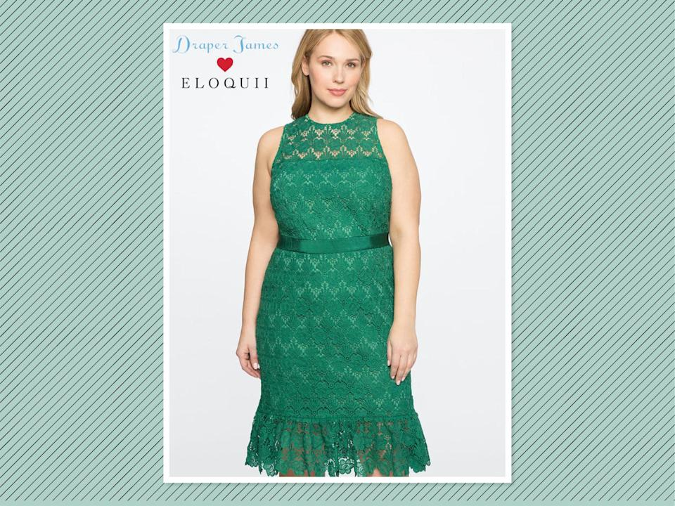 "<p>Draper James for Eloquii lace dress with sash, $195, <a href=""http://www.eloquii.com/draper-james-for-eloquii-lace-dress-with-sash/1226050.html?cgid=draper-james&dwvar_1226050_colorCode=22&start=10"" rel=""nofollow noopener"" target=""_blank"" data-ylk=""slk:Eloquii"" class=""link rapid-noclick-resp"">Eloquii</a> (Photo: Eloquii) </p>"