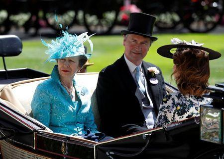Horse Racing - Royal Ascot - Ascot Racecourse, Ascot, Britain - June 21, 2018 Britain's Princess Anne and husband Tim Laurence arrive before the start of the racing REUTERS/Peter Nicholls