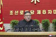 "In this photo provided by the North Korean government, North Korean leader Kim Jong Un attends a ruling party congress in Pyongyang, North Korea Tuesday, Jan. 5, 2021. Kim opened its first Workers' Party Congress in five years with an admission of policy failures and a vow to lay out new developmental goals, state media reported Wednesday. Independent journalists were not given access to cover the event depicted in this image distributed by the North Korean government. The content of this image is as provided and cannot be independently verified. Korean language watermark on image as provided by source reads: ""KCNA"" which is the abbreviation for Korean Central News Agency. (Korean Central News Agency/Korea News Service via AP)"