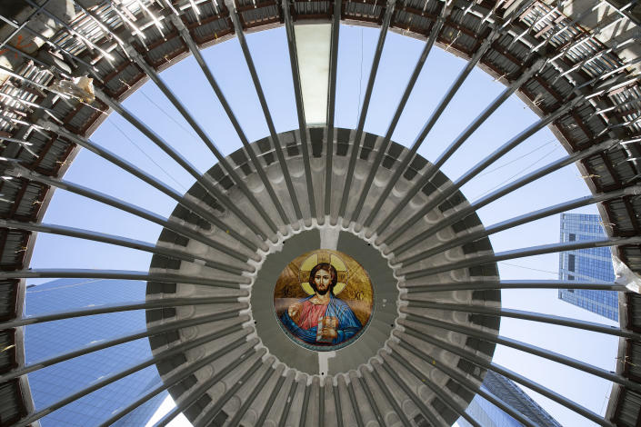 An image of Christ is in place in the ceiling of the St. Nicholas Greek Orthodox Church, Monday, Aug. 3, 2020 at the World Trade Center in New York. The original church was destroyed in the attacks of Sept. 11, 2001. The shrine is expected to open in 2021. (AP Photo/Mark Lennihan)