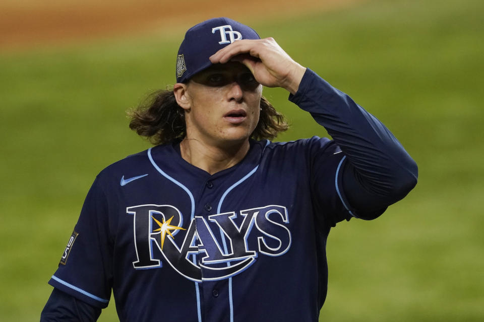 Tampa Bay Rays starting pitcher Tyler Glasnow leaves the game against the Los Angeles Dodgers during the fifth inning in Game 1 of the baseball World Series Tuesday, Oct. 20, 2020, in Arlington, Texas. (AP Photo/Tony Gutierrez)
