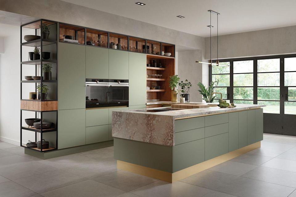 """<p>Don't be afraid to make a statement with block colours. If you're brave enough, why not match your kitchen island to kitchen cupboards — it will tie everything together seamlessly. </p><p>• 'Vivid Look' kitchen with 'Regiment Matt' paint from <a href=""""https://www.life-kitchens.co.uk/"""" rel=""""nofollow noopener"""" target=""""_blank"""" data-ylk=""""slk:Life Kitchens"""" class=""""link rapid-noclick-resp"""">Life Kitchens</a></p>"""