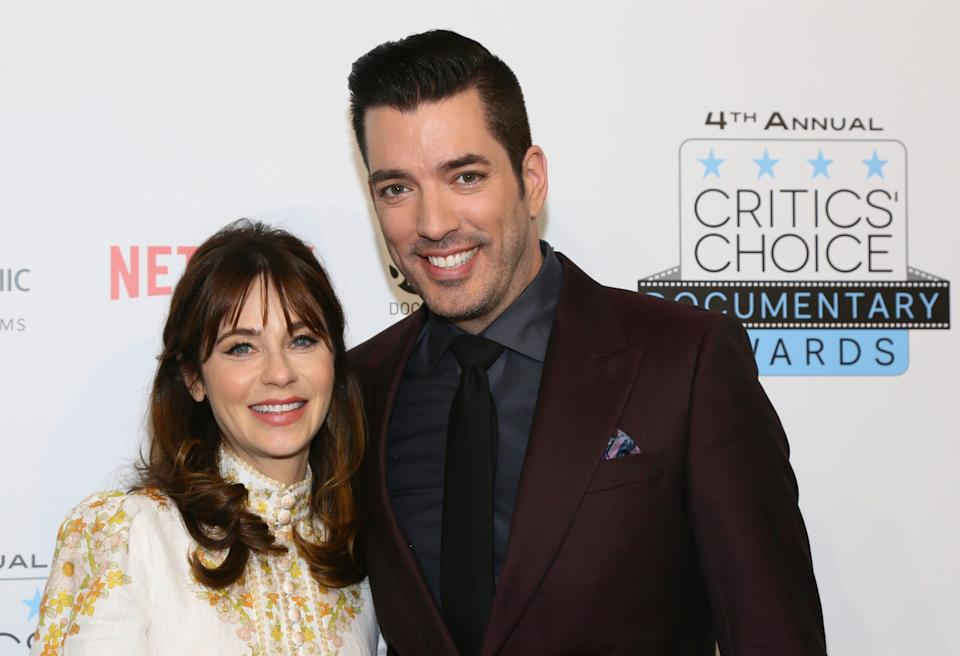Jonathan Scott with Zooey Deschanel at the Critics' Choice Documentary Awards, which he hosted, in New York, NY, on Nov. 10, 2019.