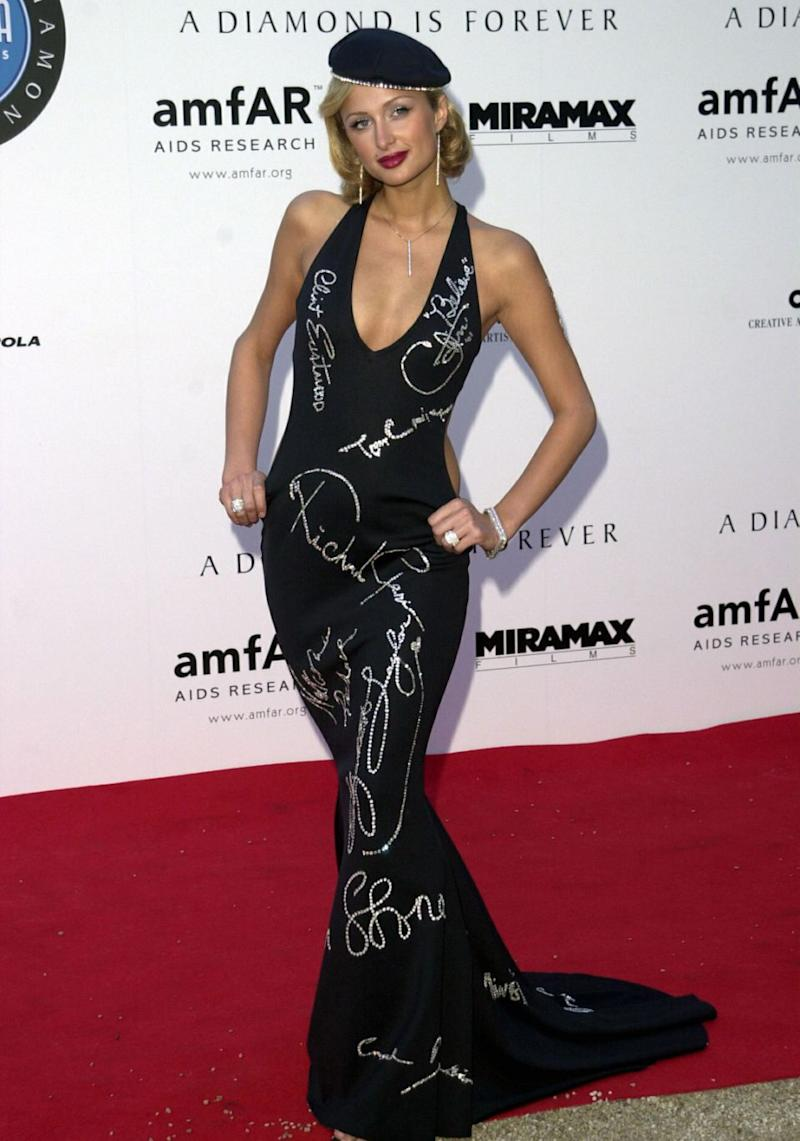 Earlier this month Page Six reported that Weinstein tried to make a move on the socialite in the women's bathroom at the 2001 amfAR Gala when she was just 20 years of age - Paris pictured here at that very event. Source: Getty