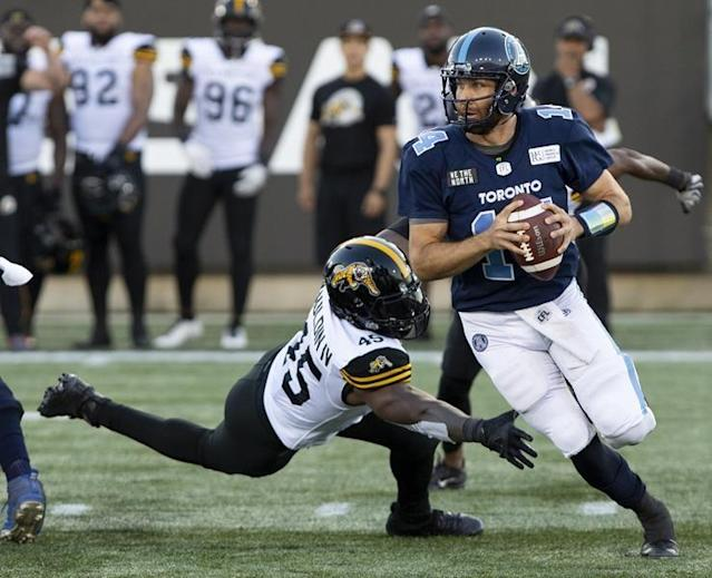 """TORONTO — McLeod Bethel-Thompson has another shot at being the Toronto Argonauts No. 1 quarterback.Bethel-Thompson will start Saturday night when Toronto (0-2) hosts the B.C. Lions (0-3) and could be the club's starter for some time. After starting the opening two games, incumbent James Franklin went on the six-game injured list Wednesday after suffering a hamstring injury in the Argos' 32-7 road loss to Saskatchewan on Monday night.""""That (Franklin injury) is always unfortunate, but the fortunate part is we do have another No. 1 quarterback sitting there,"""" Argos head coach Corey Chamblin said. """"There's definitely an injury there so (Franklin) needs that time to heal and get himself back where he needs to be.""""Bethel-Thompson, 31, replaced Franklin as the starter last season. He guided the Argos to consecutive wins over Ottawa and B.C., but after six straight losses relinquished starting duties back to Franklin as Toronto (4-14) missed the CFL playoffs after winning the '17 Grey Cup.Bethel-Thompson threw for 302 yards and four TDs in his first CFL start, rallying Toronto from an 18-point deficit to a thrilling 42-41 home win over Ottawa on Aug. 2. Overall, he completed 198-of-303 passes (65.3 per cent) for 2,193 yards with nine TDs and 10 interceptions while rushing for 116 yards on 23 carries (5.3-yard average) and a touchdown.""""He's been around, he's been in several systems so he should be poised that way,"""" Chamblin said of Bethel-Thompson. """"Like any quarterback he needs to make sure he makes the right decisions and protects the football.""""This is his opportunity and it's an opportunity he needs to take hold of and get the offence headed in the right direction and go from there.""""The San Francisco native also had a solid training camp, completing 17-of-24 passes for 353 yards and three TDs as Toronto won both of its exhibition games.But it's been a rough start to the regular season. Toronto has been outscored 96-21 in its two losses, allowed over 1,100 yards and stands"""