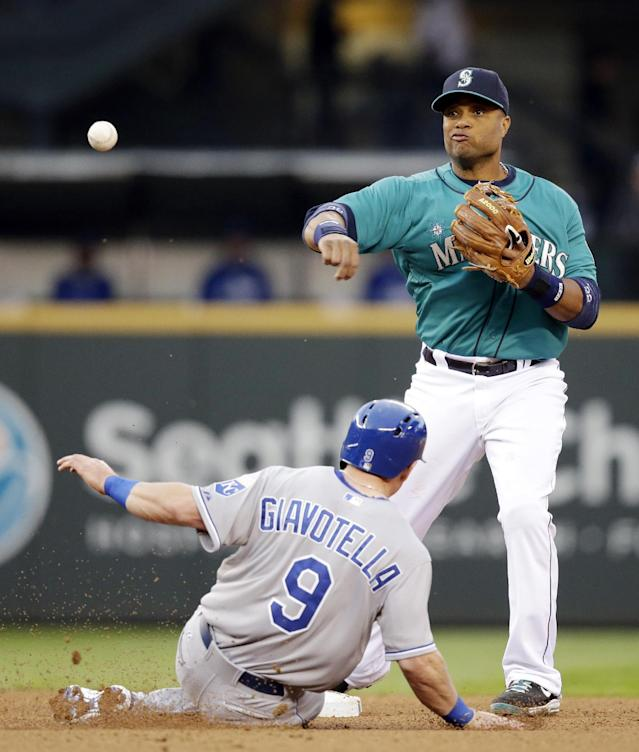 Seattle Mariners second baseman Robinson Cano, right, throws to first after forcing out Kansas City Royals' Johnny Giavotella out at second base in the fourth inning of a baseball game Friday, May 9, 2014, in Seattle. Cano completed the double play on Lorenzo Cain at first. (AP Photo/Elaine Thompson)