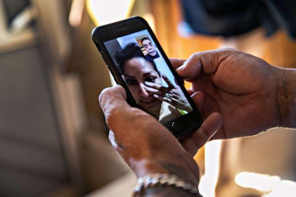 PHOTO: PHector Medrano speaks with his wife Ana Cecilia on a video call from Mexico on Oct. 09, 2020, in Phoenix. (John Moore/Getty Images)