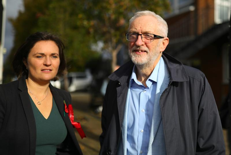 Labour leader Jeremy Corbyn with South Swindon Labour parliamentary candidate Sarah Church before a rally while on the campaign trail in Swindon, Wiltshire. PA Photo. Picture date: Saturday November 2, 2019. Photo credit should read: Aaron Chown/PA Wire