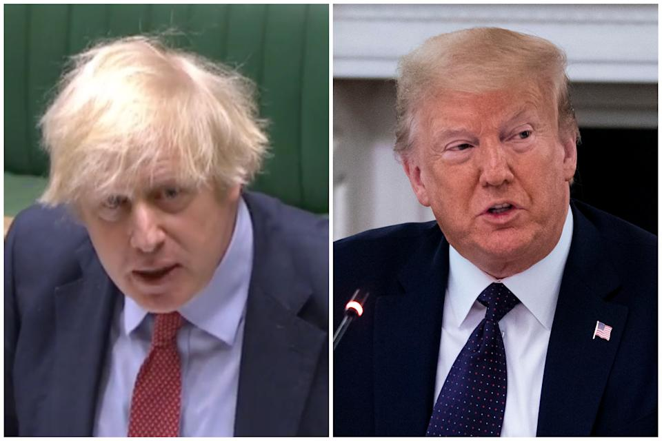 Boris Johnson refused to condemn Donald Trump at PMQs on Wednesday. (Parliamentlive.tv/Getty Images)
