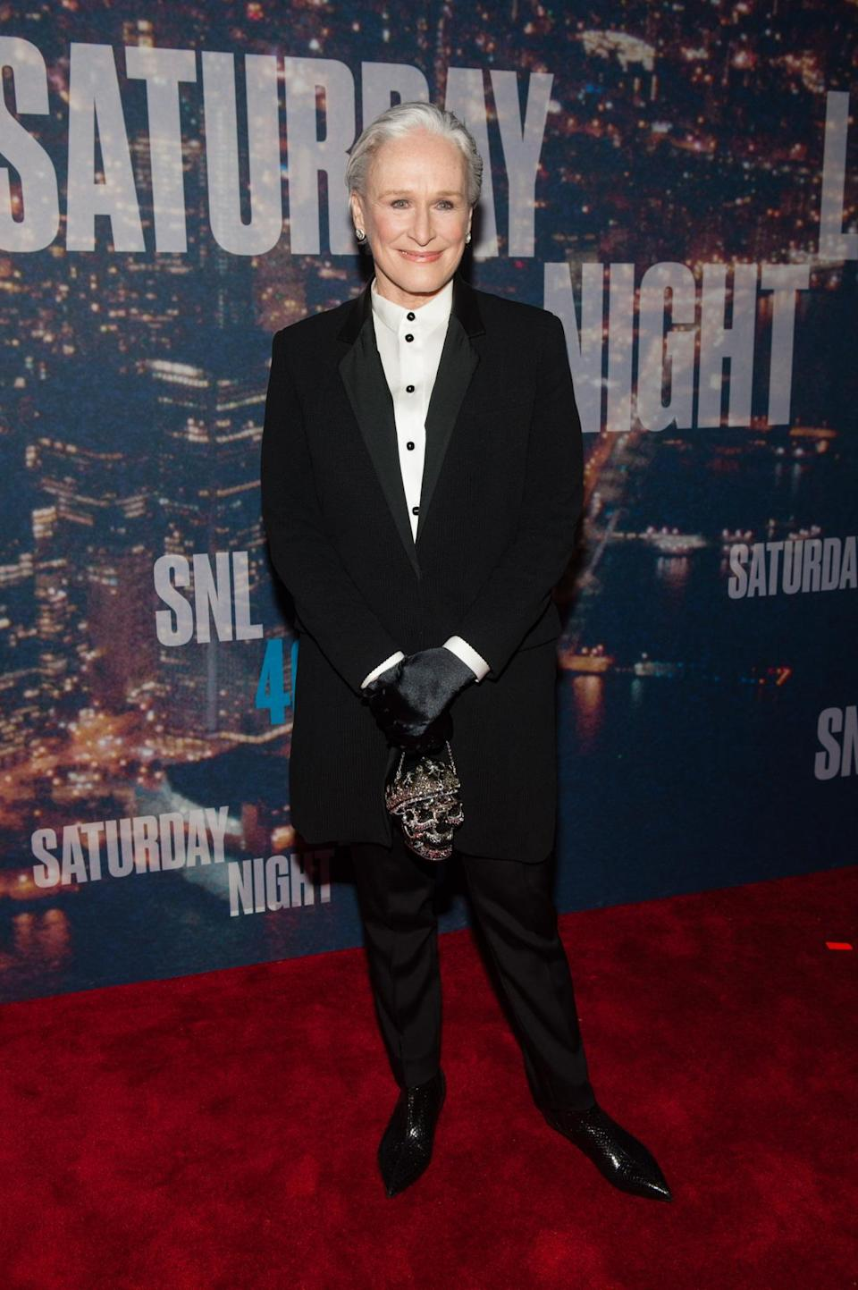 Glenn Close makes a strong case for gender-bending on the red carpet in a tuxedo. The actress added some flair with shiny black gloves, pointed-toe Chelsea boots that Harry Styles probably owns, and an embellished skull purse that most likely makes Sarah Burton mad she didn't think to create it first.