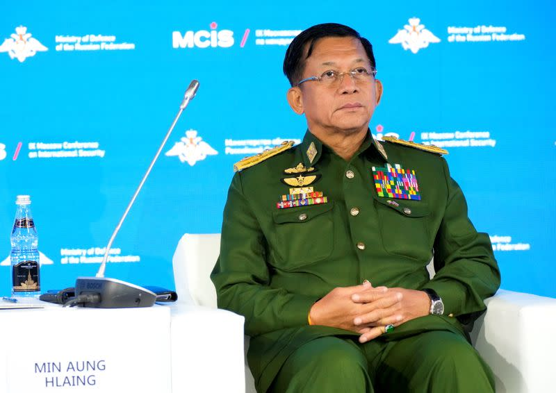 Commander-in-Chief of Myanmar's armed forces, Senior General Min Aung Hlaing attends the IX Moscow conference on international security in Moscow