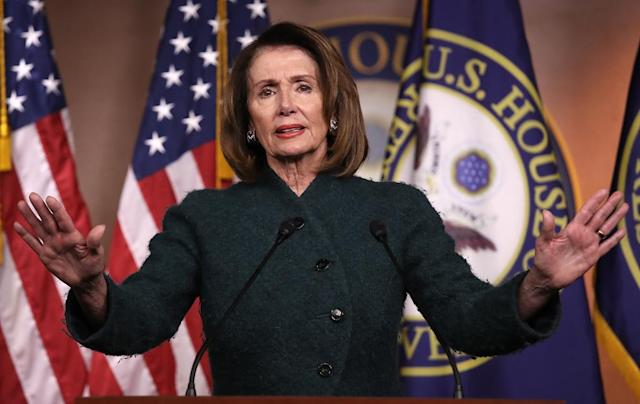 House Minority Leader Nancy Pelosi, at the U.S. Capitol, answers questions on the possibility of a government shutdown. (Photo: Win McNamee/Getty Images)