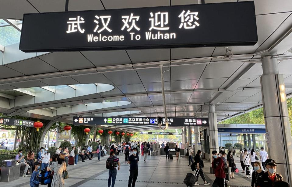 <span class=caption>One of the Wuhan train stations in fall 2020. The city reopened in April 2020 after a total shutdown.</span> <span class=attribution><span class=source>Liu Yan</span>, <a class=link rapid-noclick-resp href=http://creativecommons.org/licenses/by-sa/4.0/ rel=nofollow noopener target=_blank data-ylk=slk:CC BY-SA>CC BY-SA</a></span>
