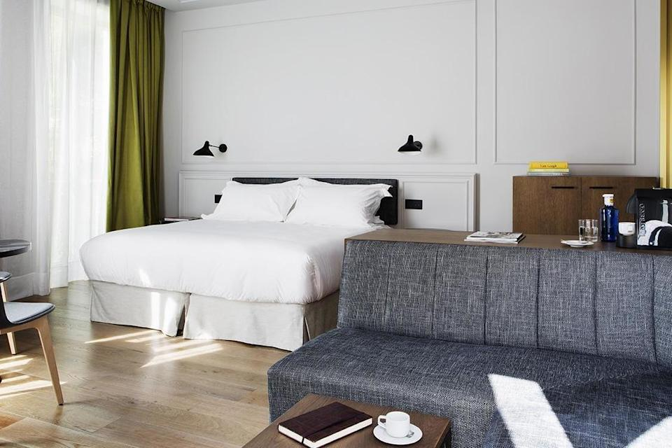 A sleek bedroom at the Totem hotel