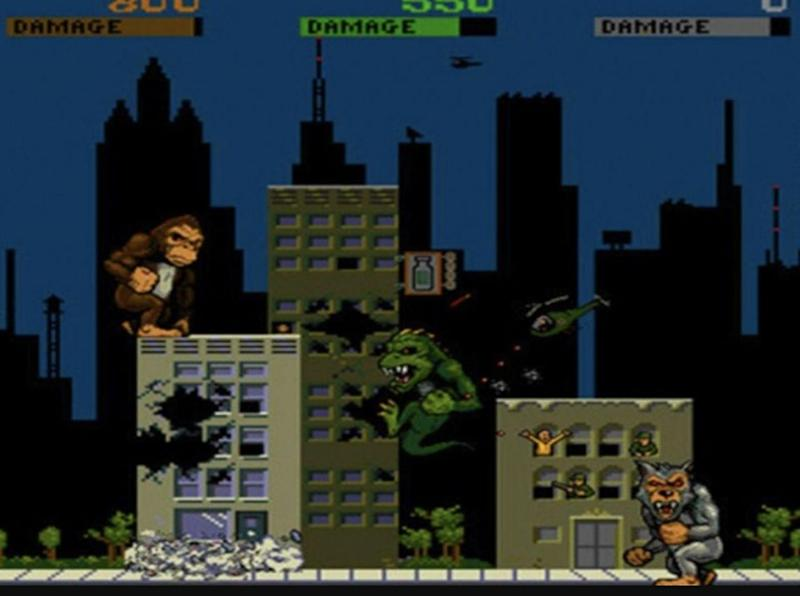 George, Lizzie, and Ralph as seen in the classic 1986 game Rampage. Source: Midway Games