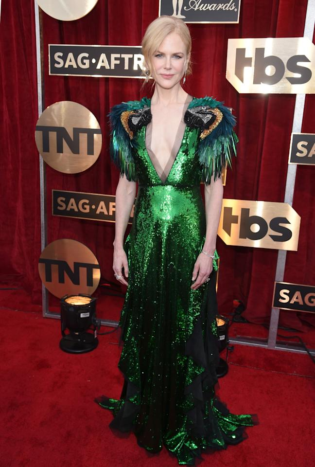 <p>The <em>Lion</em> star went for a wild look from Gucci. (Photo: Getty Images) </p>