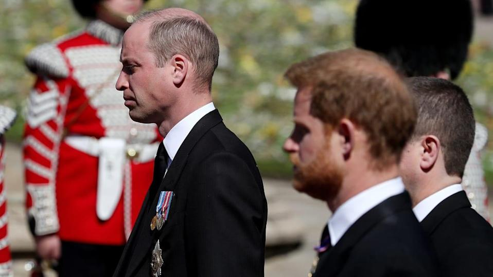 "<div class=""inline-image__caption""><p>""Prince William, Duke of Cambridge, Prince Harry, Duke of Sussex and Peter Phillips during the funeral of Prince Philip, Duke of Edinburgh at Windsor Castle on April 17, 2021 in Windsor, England.</p></div> <div class=""inline-image__credit"">Gareth Fuller/WPA Pool/Getty Images</div>"