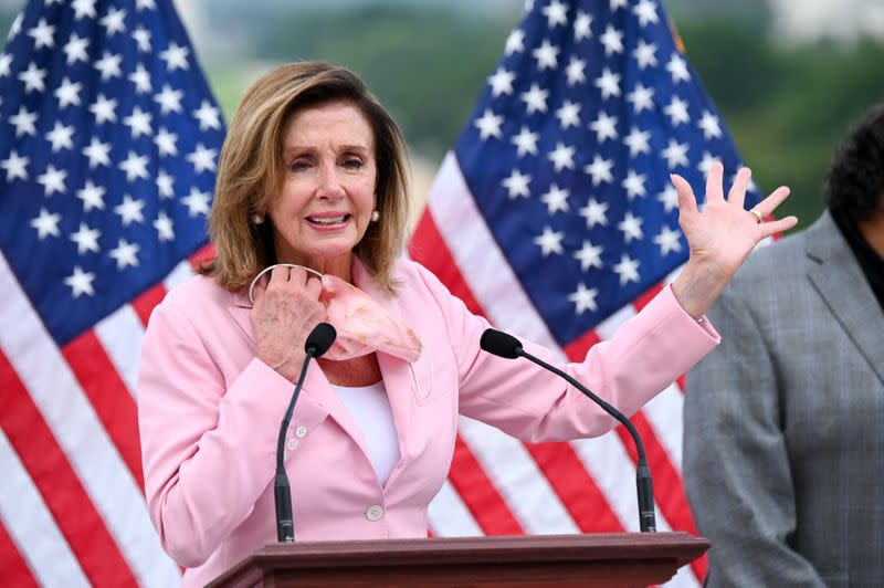 U.S. House Speaker Pelosi speaks at a bill enrolment ceremony for the Great American Outdoors Act