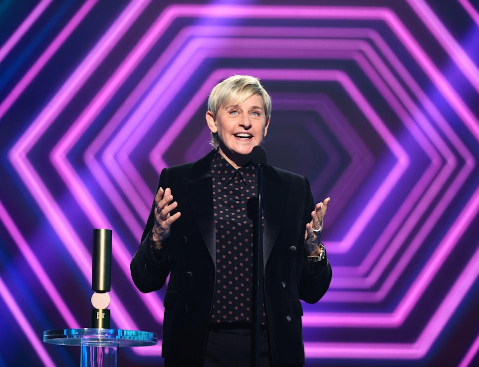 SANTA MONICA, CALIFORNIA - NOVEMBER 15: 2020 E! PEOPLE'S CHOICE AWARDS -- In this image released on November 15, Ellen DeGeneres accepts the award for The Daytime Talk Show of 2020 onstage for the 2020 E! People's Choice Awards held at the Barker Hangar in Santa Monica, California and on broadcast on Sunday, November 15, 2020. (Photo by Christopher Polk/E! Entertainment/NBCU Photo Bank via Getty Images)