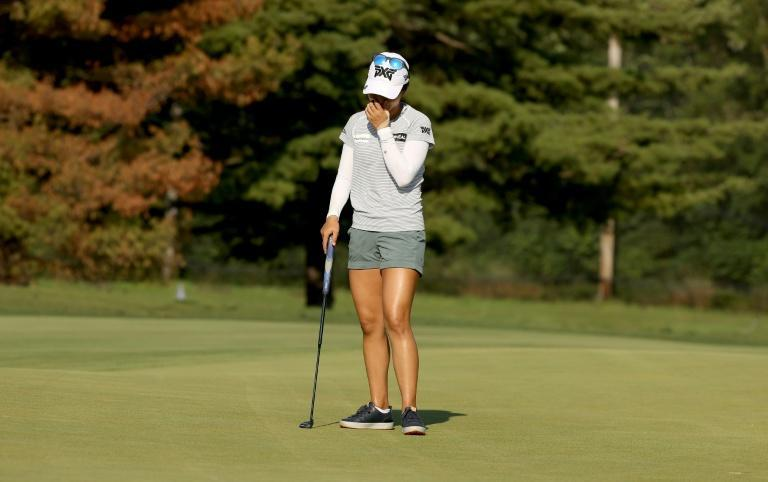 Lydia Ko reacts after her late collapse at the LPGA Marathon Classic won by Danielle Kang