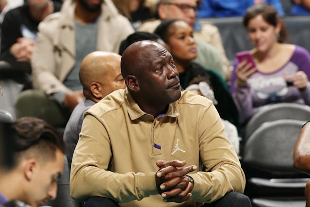 CHARLOTTE, NC - JANUARY 12: Michael Jordan attends the game between the Utah Jazz and the Charlotte Hornets on January 12, 2018 at Spectrum Center in Charlotte, North Carolina. (Photo by Kent Smith/NBAE via Getty Images)