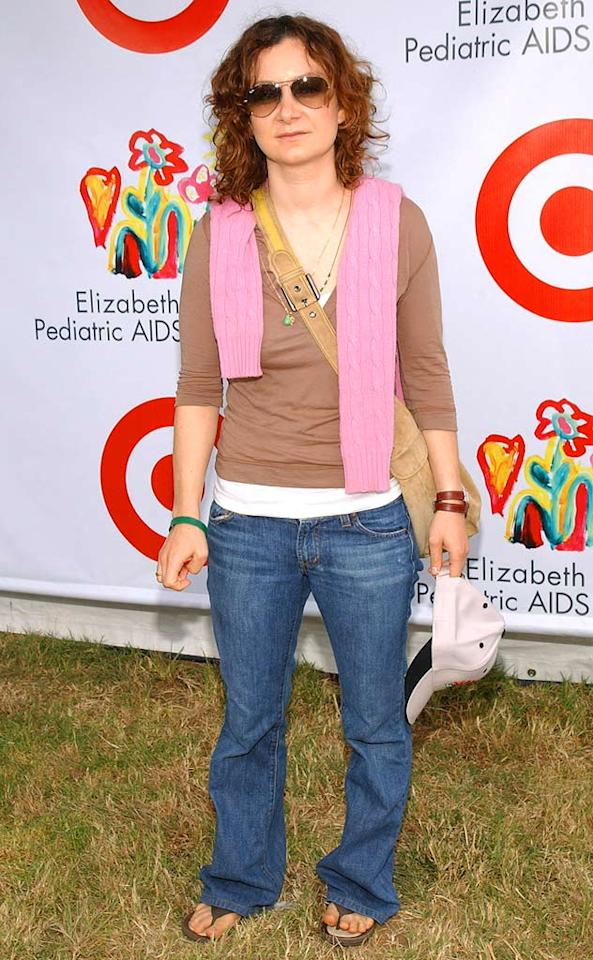 """Sara Gilbert, who has two kids with her partner Allison, attends an event for the Elizabeth Glaser Pediatric AIDS Foundation. Jean-Paul Aussenard/<a href=""""http://www.wireimage.com"""" target=""""new"""">WireImage.com</a> - June 12, 2005"""