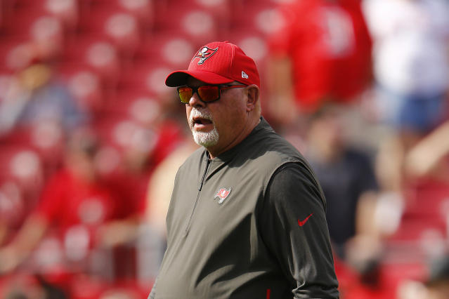 Head Coach Bruce Arians now has arguably the greatest QB of all time as his starter — but can he win with him? (Photo by Michael Reaves/Getty Images)